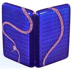 c1908 Faberge blue enamel case with a serpent in pave diamonds biting its' tail.