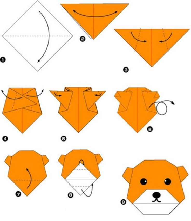 Simple origami for kids and their parents. Selection of funny and cute figures. Bear