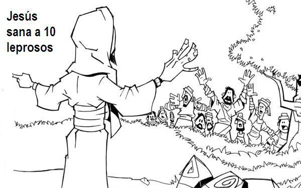 Laminas De La Biblia Para Colorear Imprimir Y Recortar Jesus Sana A Diez Leprosos Luc Jesus Sana Escuela Dominical Para Ninos Lecciones Biblicas Para Ninos