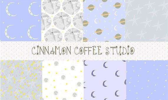 Space Digital Papers Moon and Stars by CinnamonCoffeeStudio
