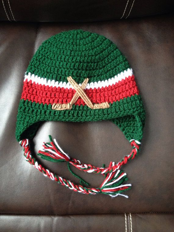 hockey hat in MN Wild colors by Escreations2013 on Etsy, $20.00