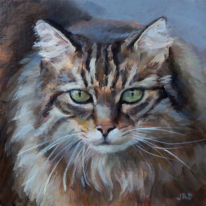 Love this oil painting from UGallery. Fluffy Cat by J. Dunster