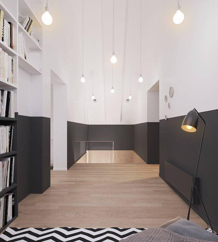 Vernice in bianco e nero su tutta la lunghezza della stanza - scelta attraente per una casa moderna