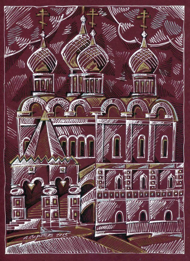 Храм 2015 30х21 тонированная бумага, гелевые ручки