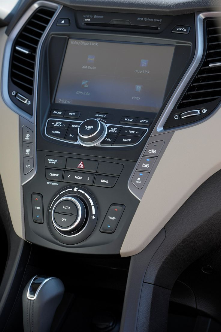 2014 hyundai santa fe center console shown with 8 navigation touchscreen display optional with