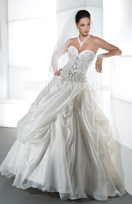 Col en cœur robe de mariée 2015 organza sublime fleur [#ROBE209824] - robedumariage.com
