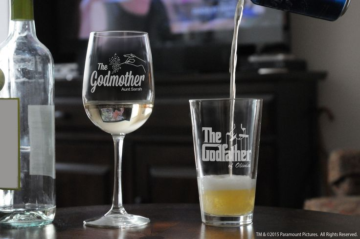 Personalized Godparent Tall Wine Glass & Pint Beer Glass