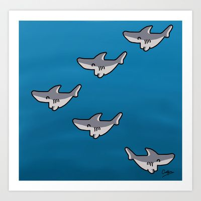 Little sharks Art Print Promoters - $14.48 #sharks #babysharks #design #dessin #drawing #art