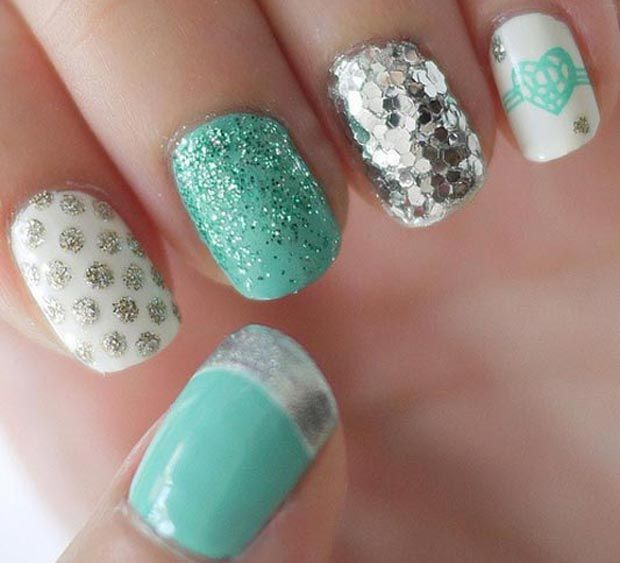 exquisite #Valentinesday #nails ! Loving the #teal and the #glitter !