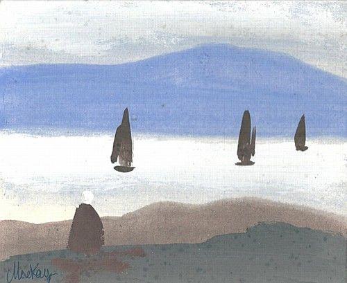Markey Robinson 'Sailboats, Achill Island' #art #boats #sailing #sailboats #island #painting #landscape #seascape #MarkeyRobinson #DukeStreetGallery