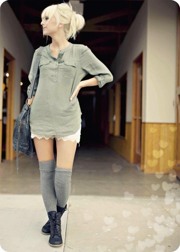 lace shorts blouse knee high socks minus