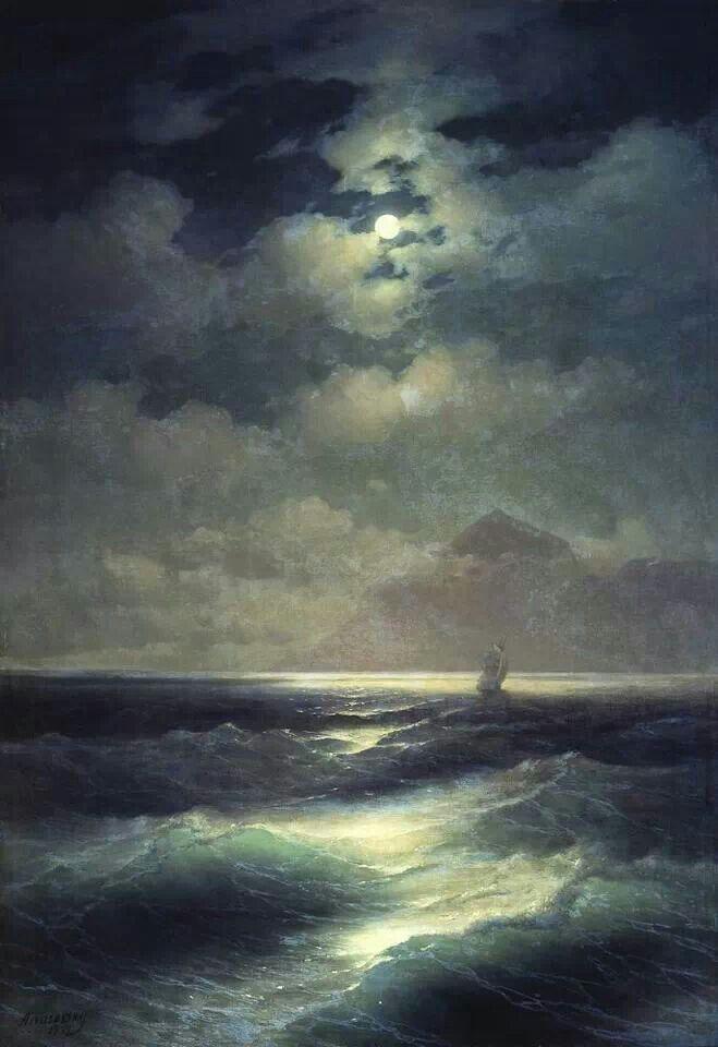 Ivan Kostantinovic Ajvazovskij ' Sea view by moonlight