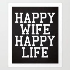 Счастливая жена, Happy Life Смешные Цитата Печать