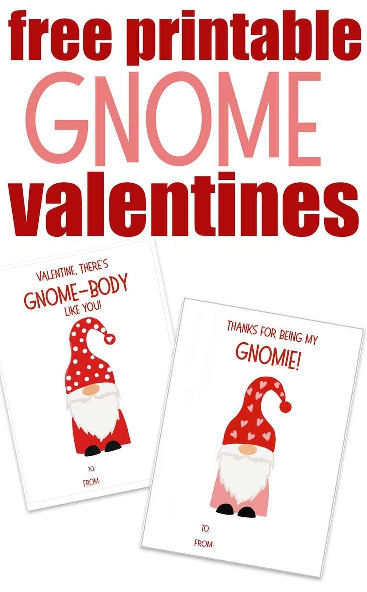Free Printable Gnome Valentines Printable Valentines Cards Valentines Printables Free Valentines Day Cards Diy
