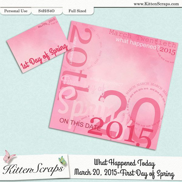 Paper created for today, First day of Spring, March 20th, 2015, by KittenScraps. Digital Scrapbooking Freebie