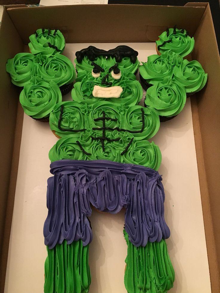 Hulk cupcake cake