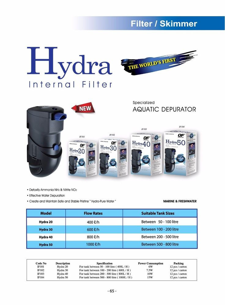 Other Fish and Aquarium Supplies 8444: Of Ocean Free Hydra 40 Internal Filter For 200-500 L (50- 125 Gallon) Aquarium BUY IT NOW ONLY: $73.0