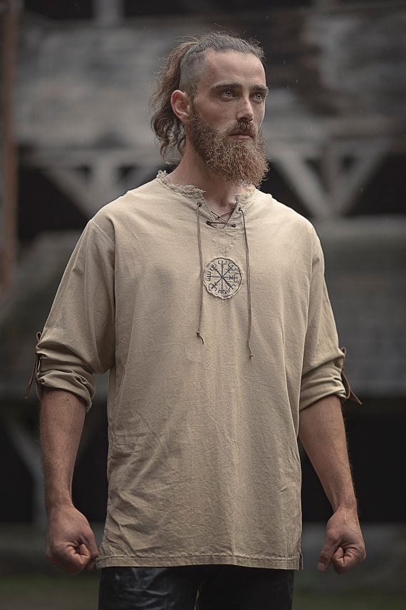 Linen man shirt with ancient viking embroidery by AtelierBeeFree