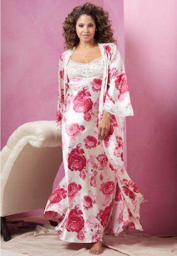Roses In Garden: Amoureuse Satin Peignoir Set Big Curvy Plus Size Women Are