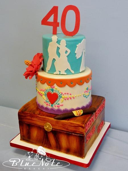 40th birthday cake Havana Nights & Dia De Los Muertos theme - Cigar box with cigar - tango - fondant cake   Blue Note Bakery - Austin, Texas