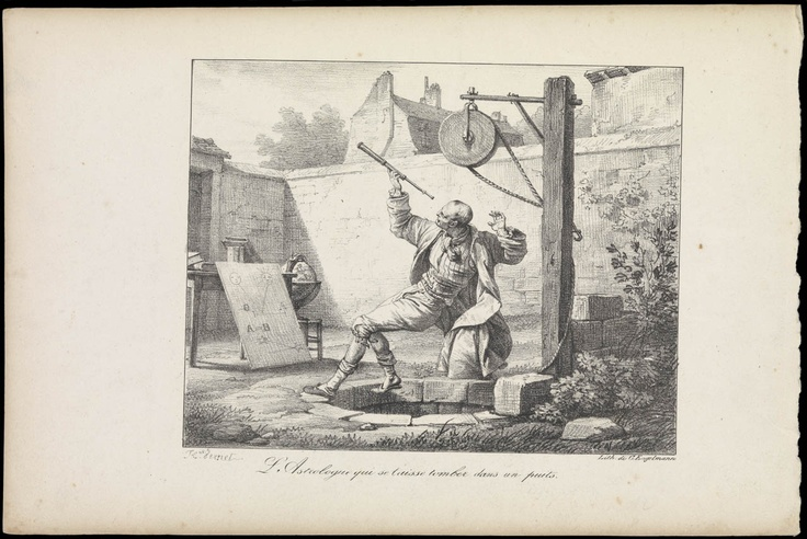 The astronomer who fell down a well, G. Englemann, 19th century - National Maritime Museum
