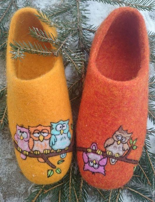 Обувь ручной работы. Ярмарка Мастеров - ручная работа. Купить ГОТОВАЯ РАБОТА 37 размер Совушки - красавицы. Handmade. Оранжевый
