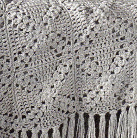 Vintage Granny Square Motif Afghan Crochet Pattern PDF Download