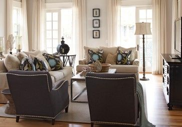 Love seat by door, couch against wall and chairs under tv? Living Room Design Ideas, Pictures, Remodeling and Decor