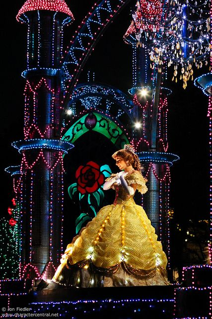 Tokyo Disneyland Electrical Parade 'Dream Lights' Belle on a castle themed float