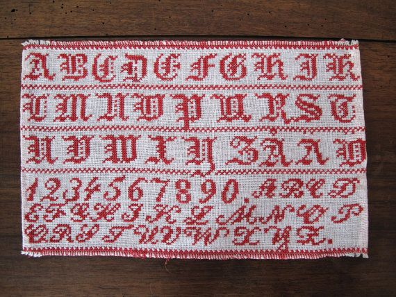 Vintage Swedish alphabet sampler. Antique. 1900-1940. Shabby chic decor. Embroidery. Handmade. Cross stitches. Red