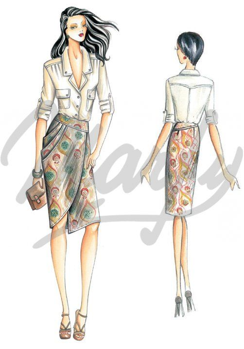 Fabric required about mt 1 40 wide 1 40 Available in sizes 42 44 46 Sporty blouse with patch pockets and ¾-length roll-up sleeves with strap fastenings To combine with the skirt 3094