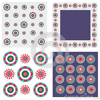 Folk fabric - 4 x pattern with flowers
