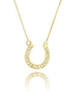 colar ferradura dourado cravejado semi joias