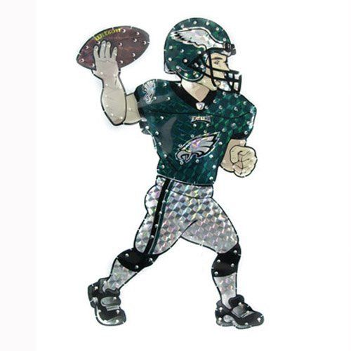 """44"""" NFL Philadelphia Eagles Animated Lawn Football Player Outdoor Yard Art Decor by CC Sports Decor. $89.99. Lighted Philadelphia Eagles Outdoor Football Player DecorationItem #10751Officially licensed merchandiseHolographic lawn figure comes in official team colors emblazoned with its authentic team logo Football player moves his arm in a """"throwing"""" motionComes with 150 pre-attached clear mini lightsOne sided, flat backMetal stand and lawn stakes are includedMinor assembl..."""