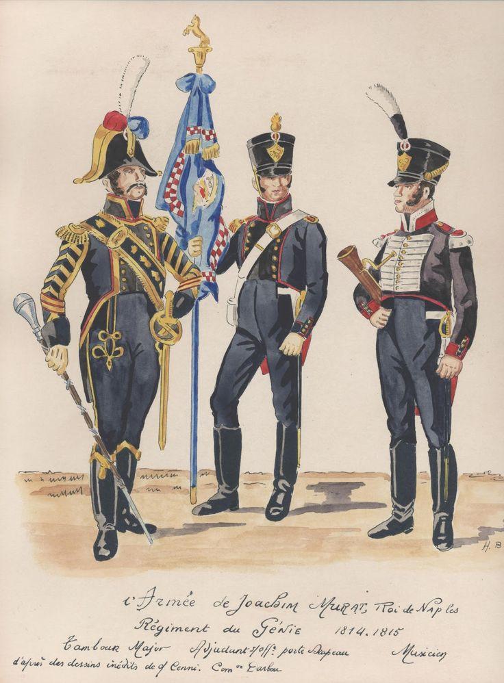Regno Di Napoli (Joachin Murat) - Reggimento del Genio, 1814-1815 - Tamburino Maggiore, Aiutante sottufficiale Portabandiera, Musicista