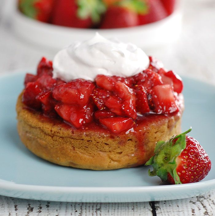 Lavender Gin Strawberry Shortcake | HealthySlowCooking.com - These vegan shortcakes are also sugar-free! Topped w/ balsamic, lavender gin strawberries and dairy-free whip via @kathy_hester
