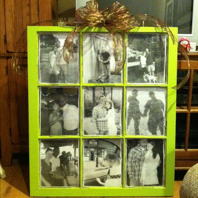 Window pane painted and black and white photos added like a picture frame. I'd love to claim this but my fiancé made it