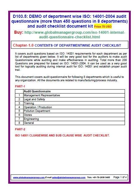 Iso 14001 Environment Management System Audit Check List