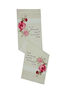 FLORAL SCRIPT COTTON TABLE RUNNER