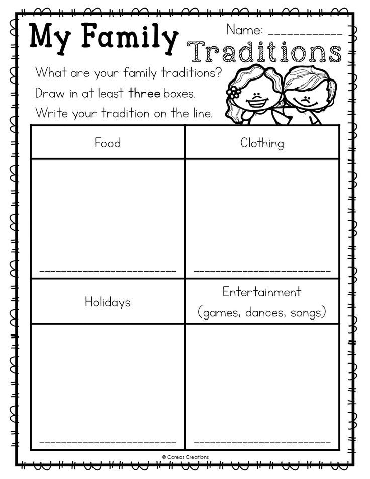 Family Traditions Social studies worksheets