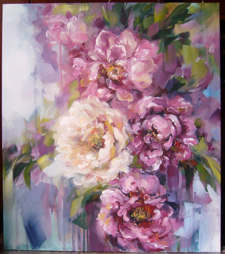 Peonies- acrylic on canvas, 80/70 cm, 2017, Derecichei Simona Mihaela