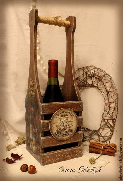 """Короб для вина """" Налёт времени """" - коричневый,подставка для бутылок,короб для вина"""