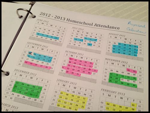 alternate homeschool yearly schedules