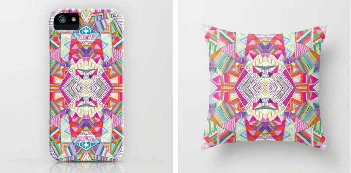 aztec-tribal-native-navajo-geometric-native-kaleidoscopic-textile-fashion-print-trend-style-summer-2015-2016-urban-outfitters-topshop-freelance-designer-portfolio-kitch-colourful-bold-ikat-peruvian-triangles-vasare-nar iphone case pillow home decor