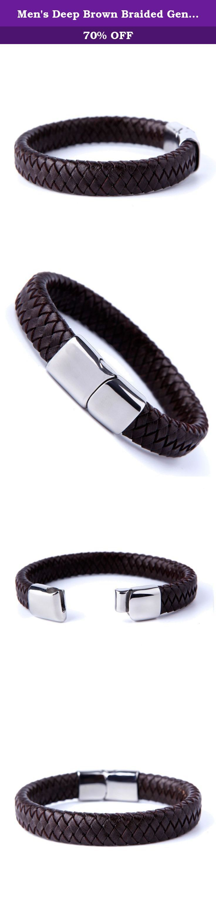 Men's Deep Brown Braided Genuine Leather Cuff Bracelet with Elegant 316L Stainless Steel Clasp. When you invest in a bracelet, the last thing you want is for it to fade from fashion fast. That's why the Urban Jewelry Men's Deep Brown Braided Genuine Leather Cuff Bracelet with Elegant Stainless Steel Clasp is the perfect piece to add to your jewelry collection! Its timeless look means it will always look fashion forward, and you can wear it for any occasion. The Urban Jewelry Men's Deep…