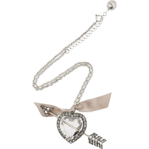 Lanvin Swarovski crystal heart and arrow necklace ($417) ❤ liked on Polyvore featuring jewelry, necklaces, accessories, lanvin, hearts, chain necklaces, ribbon necklace, heart pendant, lanvin necklace and charm pendant