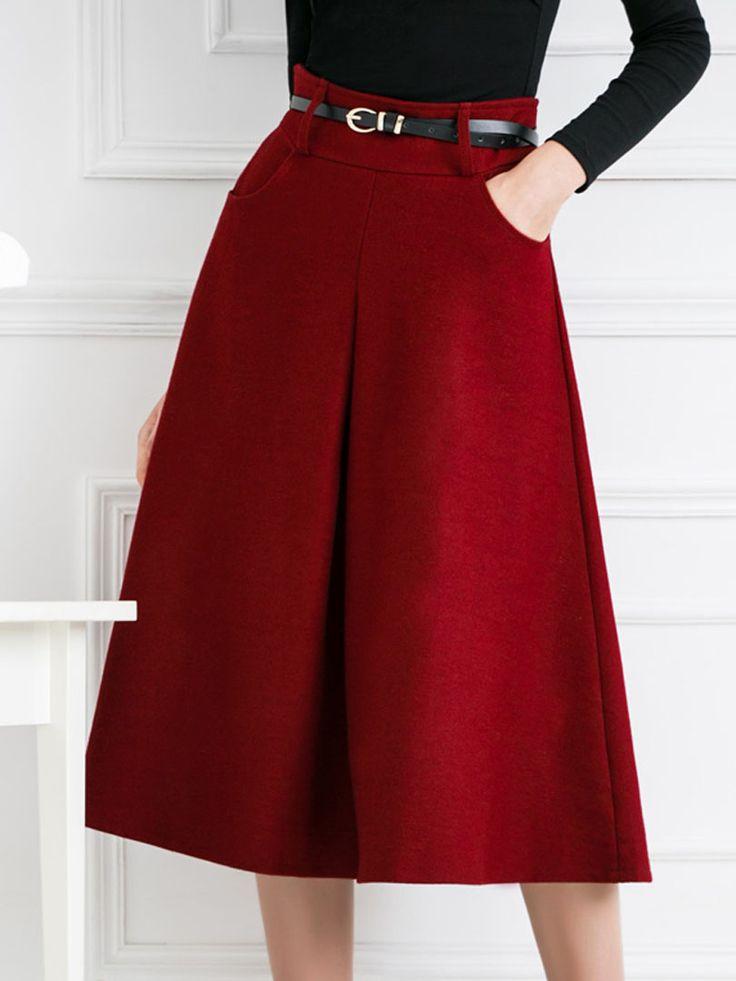 Burgundy Pleat A Line Woolen Midi Skirt | Choies
