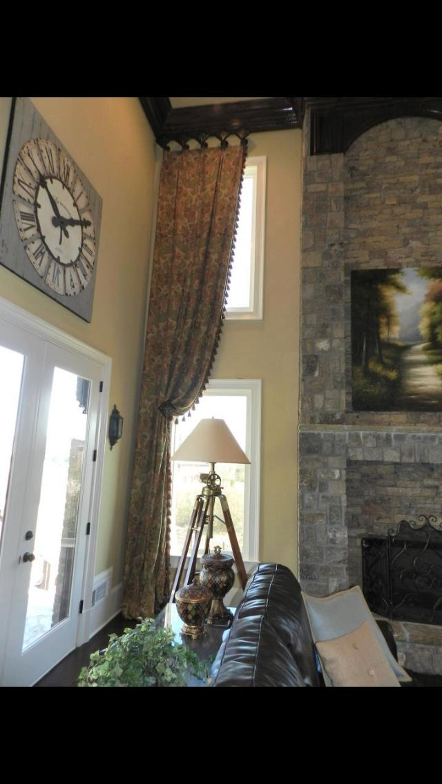 28 best two story windows images on pinterest curtains - Long or short curtains in living room ...