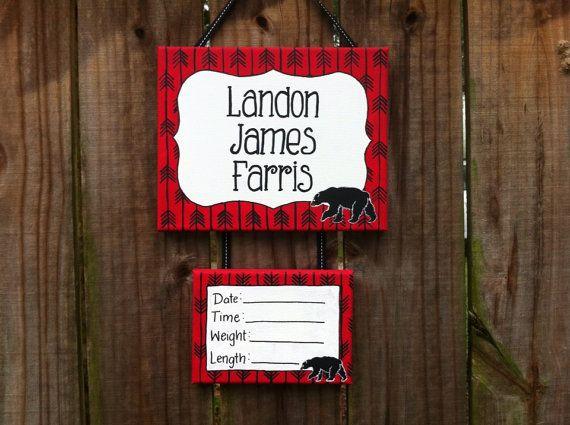 Lillou Handmade Black bear, log cabin, woodland baby boy hospital door sign, forest nursery on Etsy, $35.00