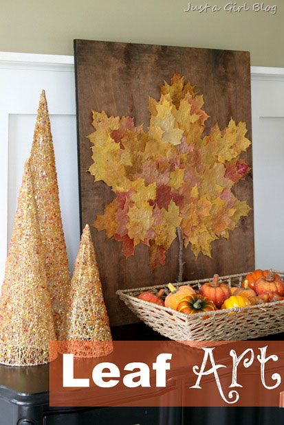 leaf crafts like the vignette for fall